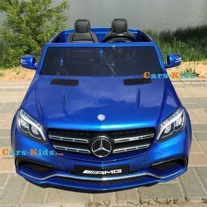 Электромобиль Mercedes-Benz GLS 63 AMG MP3 4WD синий (2х местный, колеса резина, сиденье кожа, пульт, музыка)