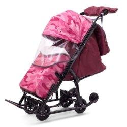 Санки-коляски Pikate Military «Малина» (материал «Dewspoo» плотностью 240 D, овчина, 3 положения спинки, краска рамы темно-серый)
