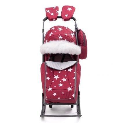 Санки-коляски Pikate Звезды «Бордо» (материал «Dewspoo» плотностью 240 D, овчина, 3 положения спинки, краска рамы темно-серый)