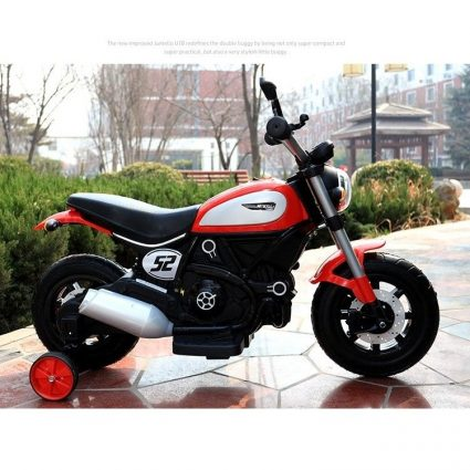 Детский мотоцикл Qike Чоппер QK-307 красный (колеса резина, ручка газа, музыка, свет)
