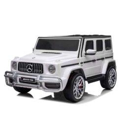 Электромобиль Mercedes-Benz G63 AMG S307 белый (2х местный, колеса резина, кресло кожа, пульт, музыка)
